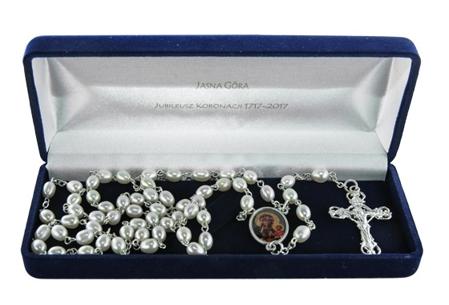 Jubileuszowy różaniec jasnogórski z prawdziwych pereł w jubilerskim etui