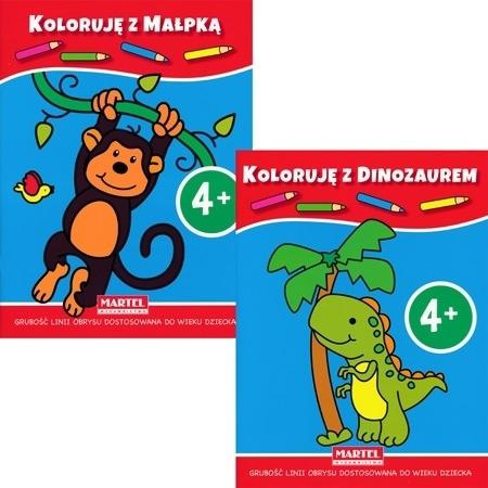 Koloruję 4+ z dinozaurem i małpką : Dla dzieci
