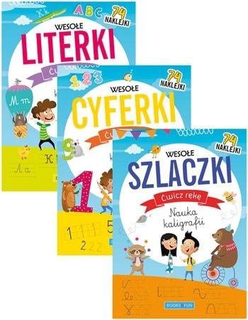 Wesołe literki, cyferki, szlaczki. Zestaw 3 książeczek z naklejkami : Dla dzieci