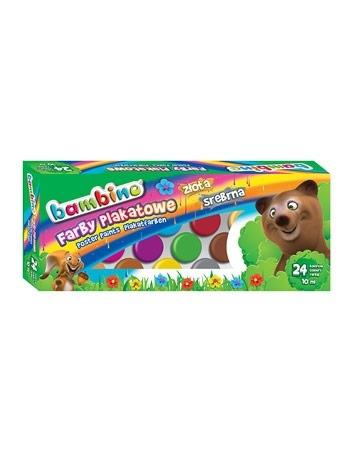 Farby plakatowe Bambino. 24 kolory, w słoiczkach 10 ml