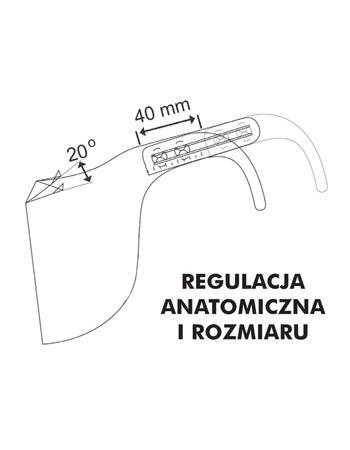 Półprzyłbica ochronna - regulacja anatomiczna i rozmiaru